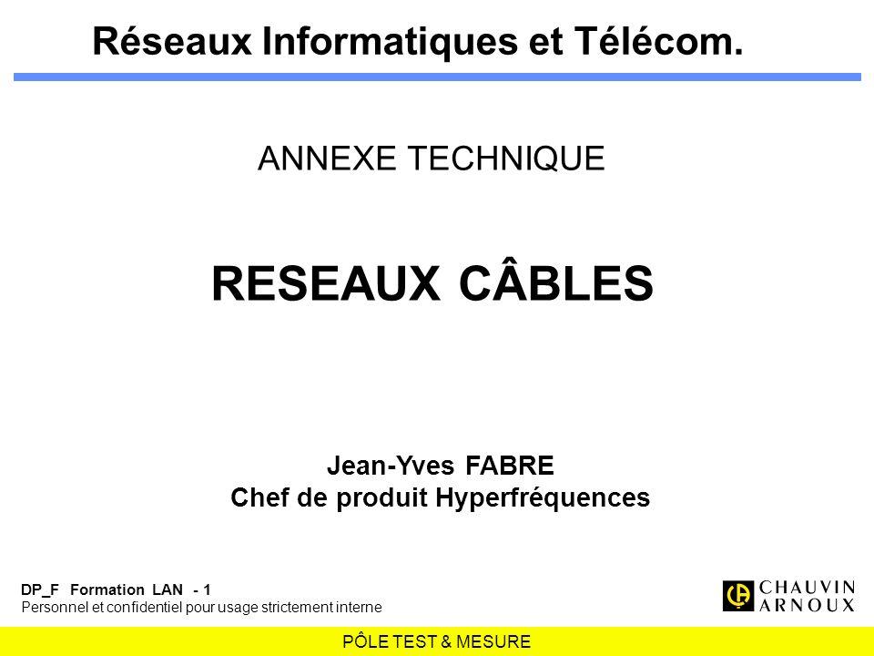 PÔLE TEST & MESURE DP_F Formation LAN - 1 Personnel et confidentiel pour usage strictement interne Réseaux Informatiques et Télécom. ANNEXE TECHNIQUE