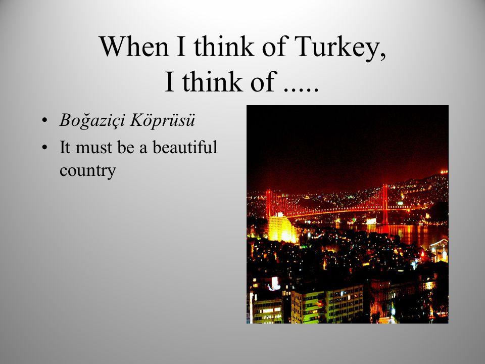 When I think of Turkey, I think of..... Boğaziçi Köprüsü It must be a beautiful country
