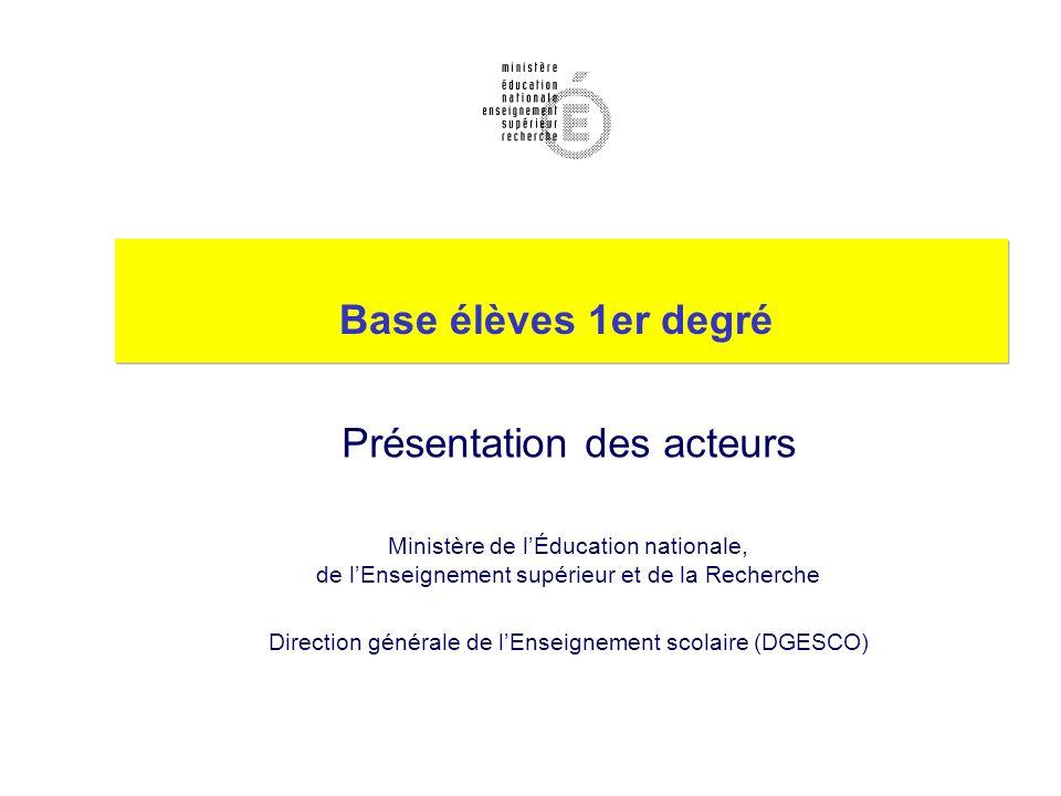 Base élèves 1er degré Présentation des acteurs Ministère de lÉducation nationale, de lEnseignement supérieur et de la Recherche Direction générale de lEnseignement scolaire (DGESCO)