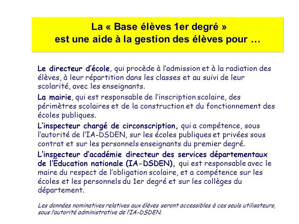 La « Base élèves 1er degré » est une aide à la gestion des élèves pour … Le directeur décole, qui procède à ladmission et à la radiation des élèves, à leur répartition dans les classes et au suivi de leur scolarité, avec les enseignants.