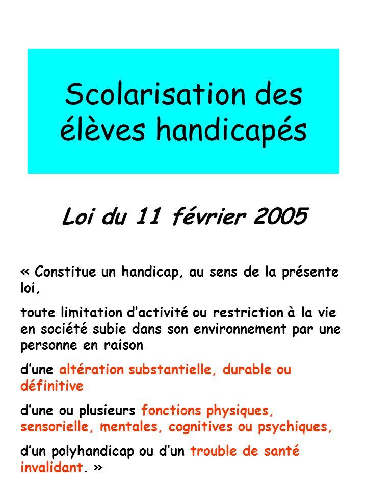Scolarisation des élèves handicapés Loi du 11 février 2005 « Constitue un handicap, au sens de la présente loi, toute limitation dactivité ou restrict
