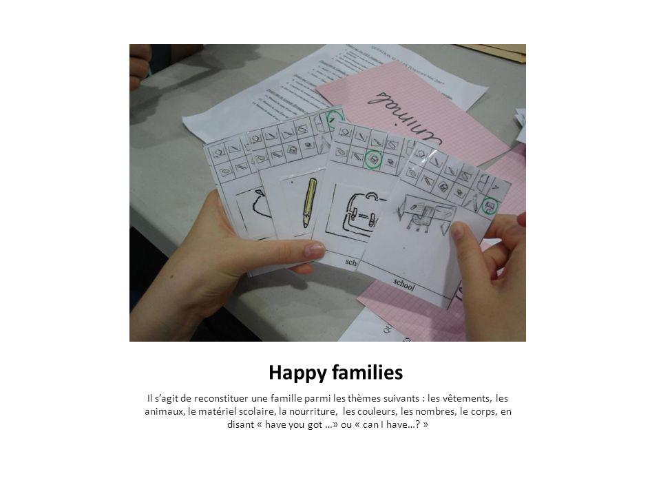 Happy families Il sagit de reconstituer une famille parmi les thèmes suivants : les vêtements, les animaux, le matériel scolaire, la nourriture, les c