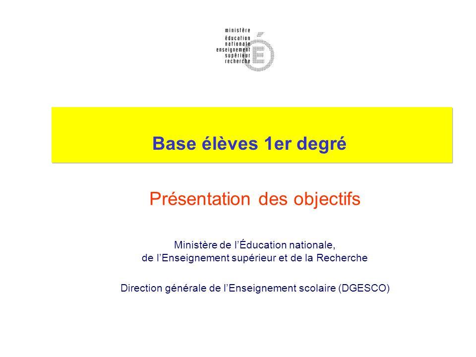 Base élèves 1er degré Présentation des objectifs Ministère de lÉducation nationale, de lEnseignement supérieur et de la Recherche Direction générale de lEnseignement scolaire (DGESCO)
