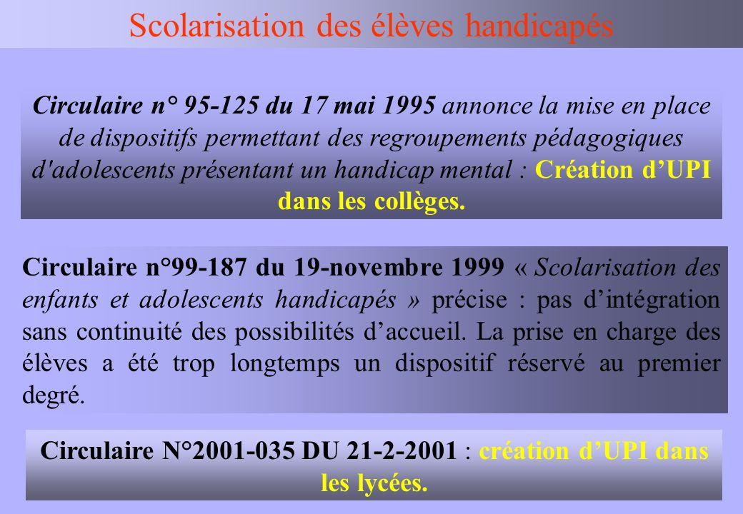 IEN BV Scolarisation des élèves handicapés Circulaire n° 95-125 du 17 mai 1995 annonce la mise en place de dispositifs permettant des regroupements pé