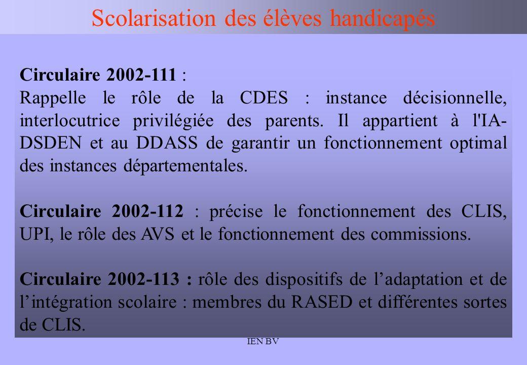 IEN BV Scolarisation des élèves handicapés Circulaire 2002-111 : Rappelle le rôle de la CDES : instance décisionnelle, interlocutrice privilégiée des
