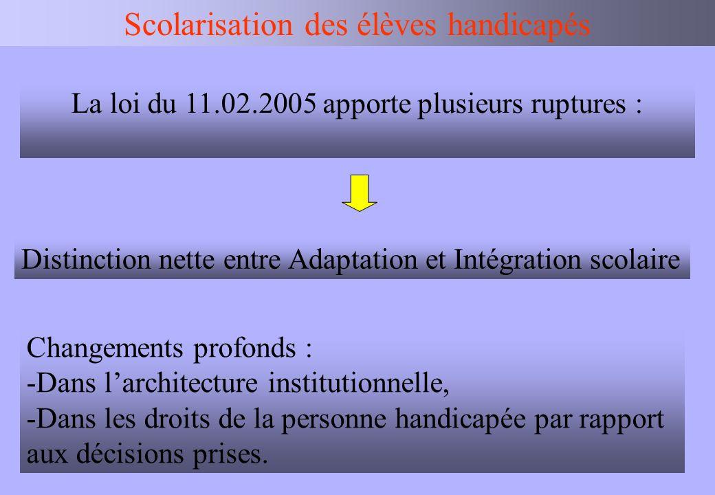 IEN BV Scolarisation des élèves handicapés La loi du 11.02.2005 apporte plusieurs ruptures : Distinction nette entre Adaptation et Intégration scolair