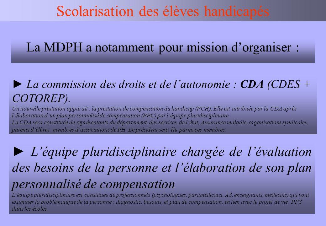 IEN BV Scolarisation des élèves handicapés La commission des droits et de lautonomie : CDA (CDES + COTOREP). Un nouvelle prestation apparaît : la pres