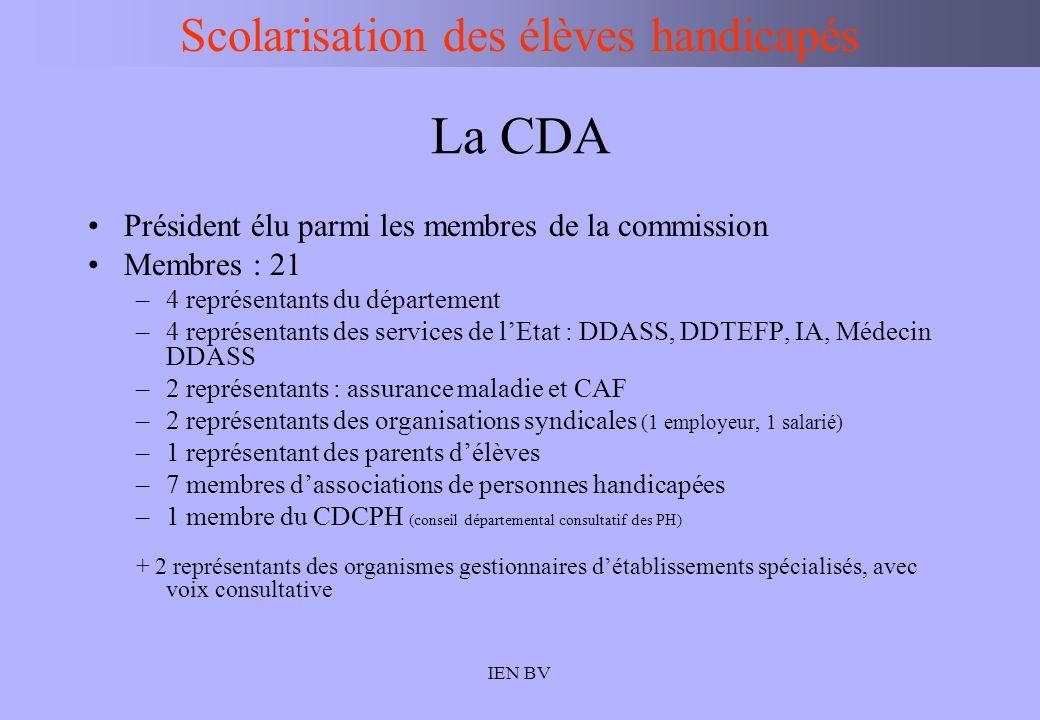 IEN BV La CDA Président élu parmi les membres de la commission Membres : 21 –4 représentants du département –4 représentants des services de lEtat : D