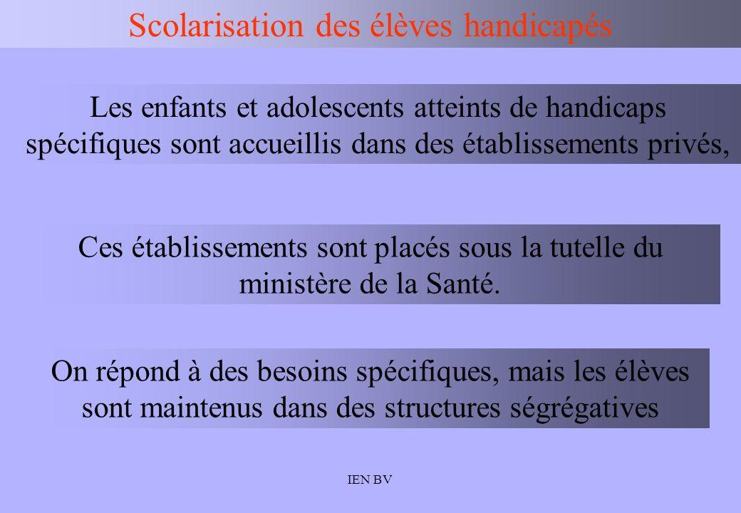 IEN BV Scolarisation des élèves handicapés Les enfants et adolescents atteints de handicaps spécifiques sont accueillis dans des établissements privés