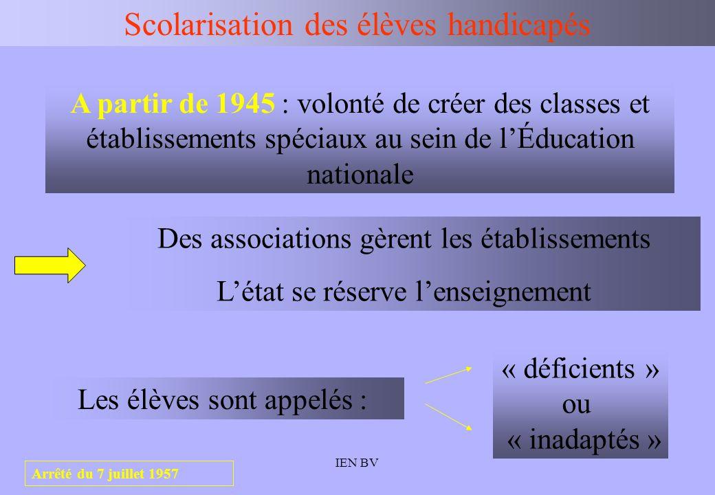 IEN BV Scolarisation des élèves handicapés 1967 : création dans les collèges des SES ; elles sont destinées à recevoir les élèves déficients intellectuels légers, et se situent dans une perspective dallongement de scolarité.