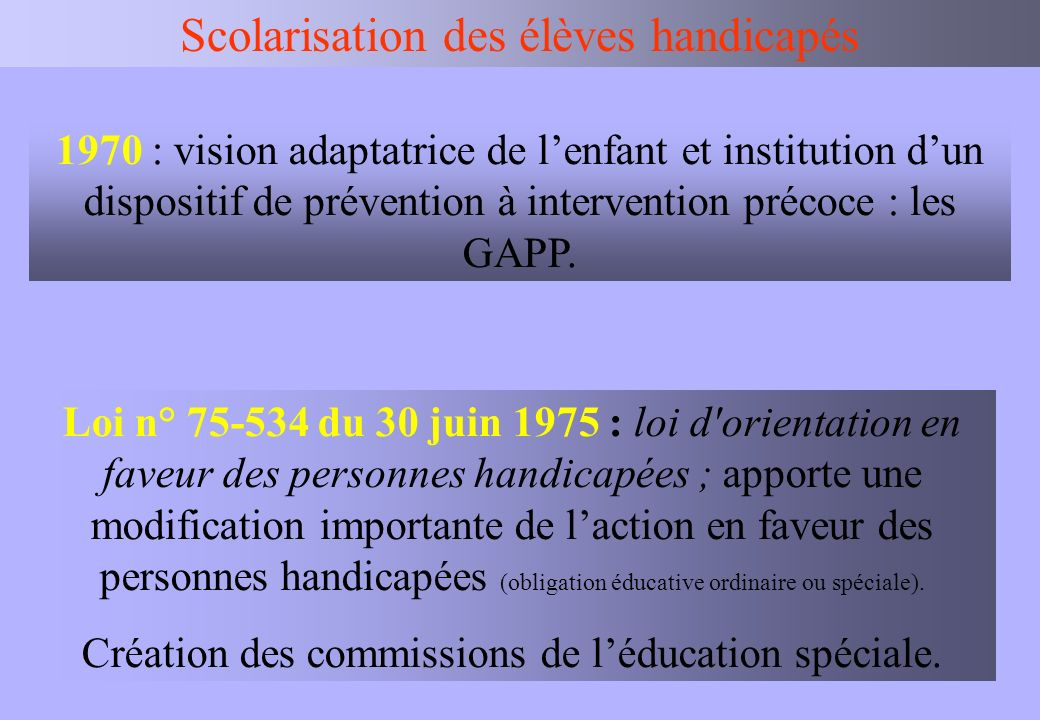 IEN BV Scolarisation des élèves handicapés Loi n° 75-534 du 30 juin 1975 : loi d'orientation en faveur des personnes handicapées ; apporte une modific