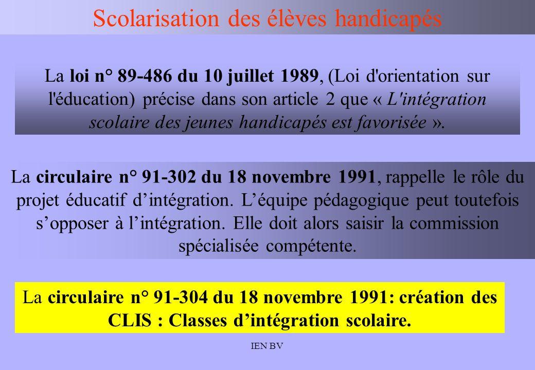IEN BV Scolarisation des élèves handicapés La loi n° 89-486 du 10 juillet 1989, (Loi d'orientation sur l'éducation) précise dans son article 2 que « L