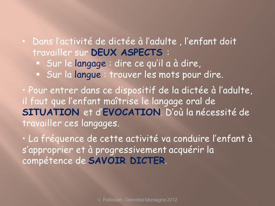 V. Pellissier - Grenoble Montagne 2012 Dans lactivité de dictée à ladulte, lenfant doit travailler sur DEUX ASPECTS : Sur le langage : dire ce quil a