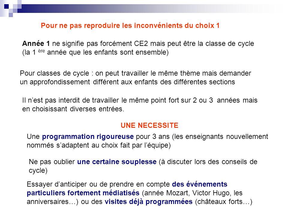 Pour ne pas reproduire les inconvénients du choix 1 Année 1 ne signifie pas forcément CE2 mais peut être la classe de cycle (la 1 ère année que les en
