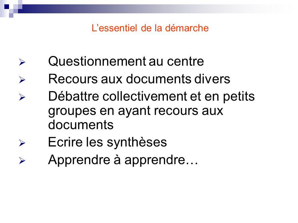 Questionnement au centre Recours aux documents divers Débattre collectivement et en petits groupes en ayant recours aux documents Ecrire les synthèses