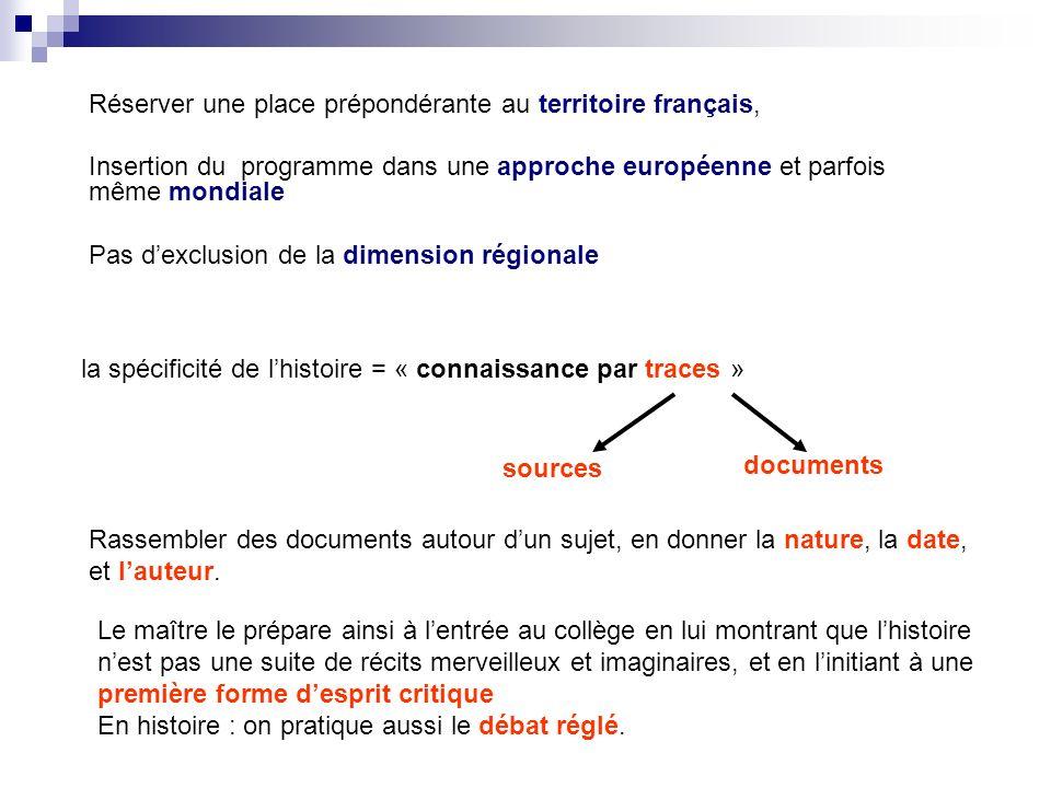 Réserver une place prépondérante au territoire français, Insertion du programme dans une approche européenne et parfois même mondiale Pas dexclusion d