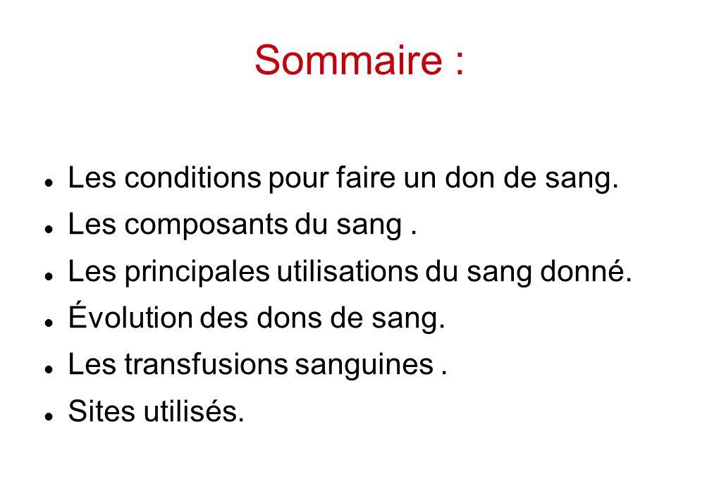 Sommaire : Les conditions pour faire un don de sang. Les composants du sang. Les principales utilisations du sang donné. Évolution des dons de sang. L