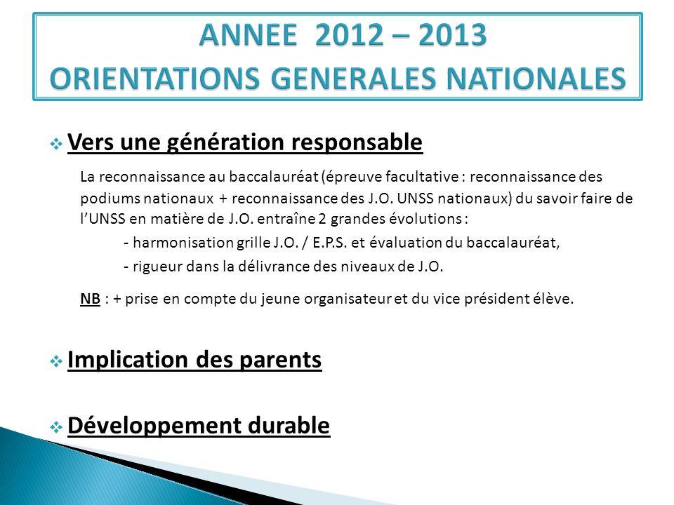 Vers une génération responsable La reconnaissance au baccalauréat (épreuve facultative : reconnaissance des podiums nationaux + reconnaissance des J.O