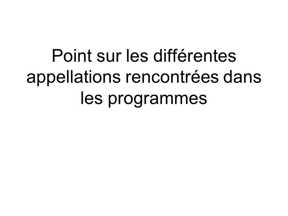Point sur les différentes appellations rencontrées dans les programmes