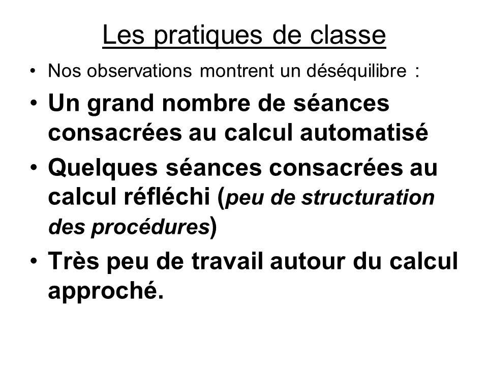 Les pratiques de classe Nos observations montrent un déséquilibre : Un grand nombre de séances consacrées au calcul automatisé Quelques séances consac