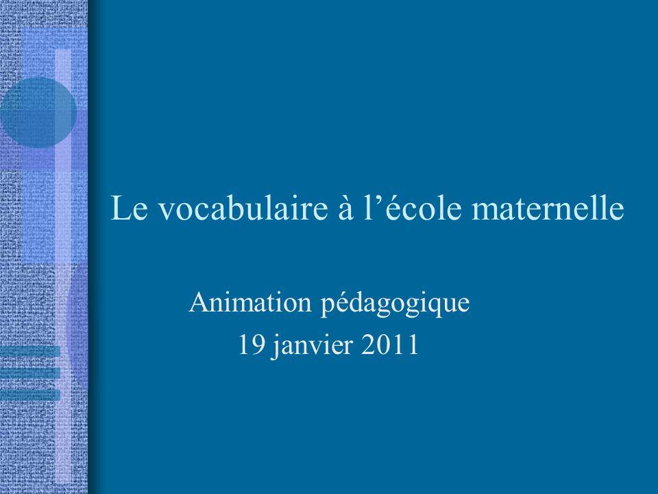 Le vocabulaire à lécole maternelle Animation pédagogique 19 janvier 2011