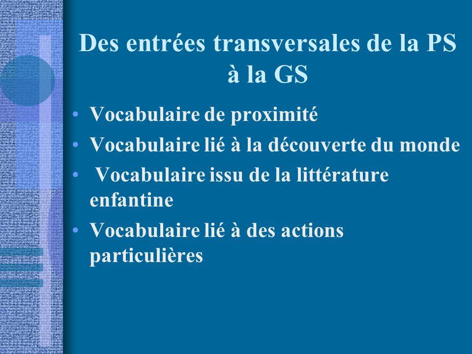 Des entrées transversales de la PS à la GS Vocabulaire de proximité Vocabulaire lié à la découverte du monde Vocabulaire issu de la littérature enfantine Vocabulaire lié à des actions particulières