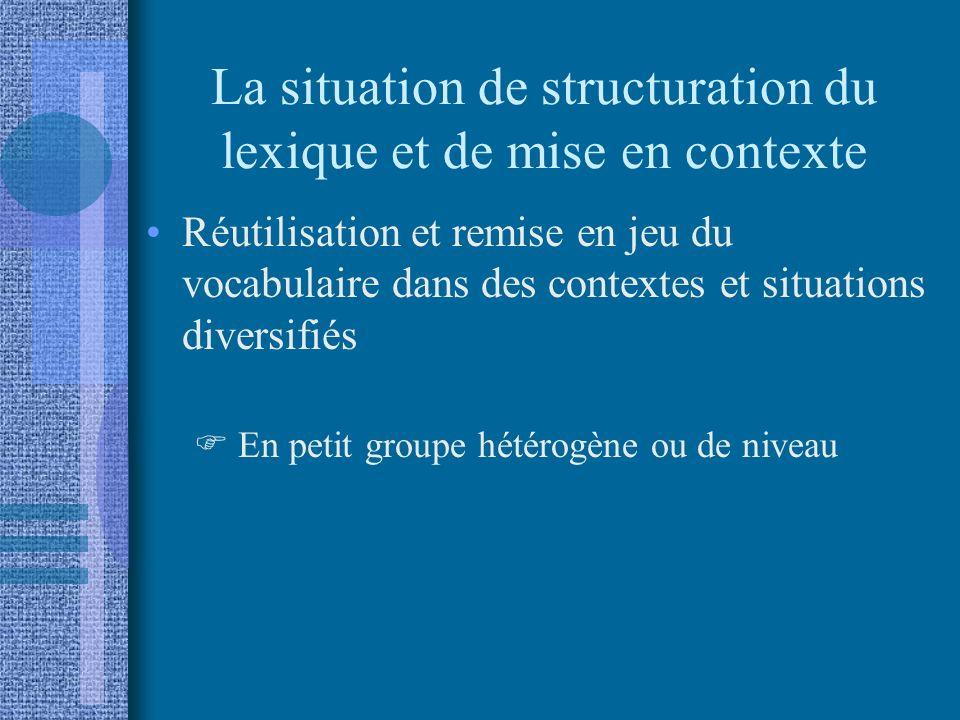 La situation de structuration du lexique et de mise en contexte Réutilisation et remise en jeu du vocabulaire dans des contextes et situations diversifiés En petit groupe hétérogène ou de niveau