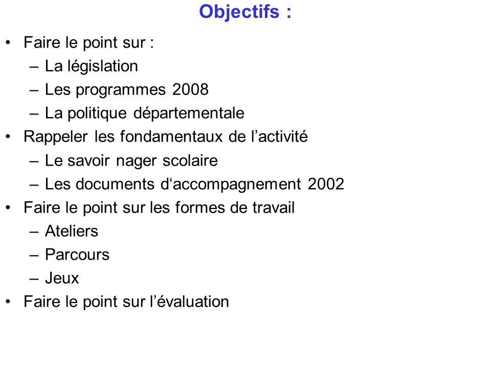 Objectifs : Faire le point sur : –La législation –Les programmes 2008 –La politique départementale Rappeler les fondamentaux de lactivité –Le savoir n