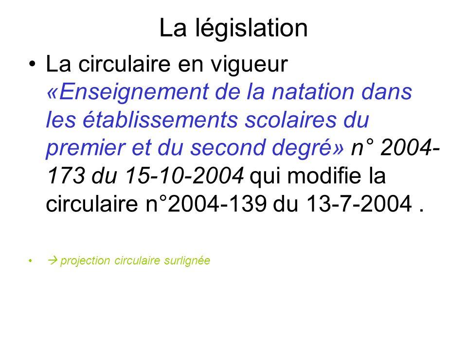 La législation La circulaire en vigueur «Enseignement de la natation dans les établissements scolaires du premier et du second degré» n° 2004- 173 du 15-10-2004 qui modifie la circulaire n°2004-139 du 13-7-2004.