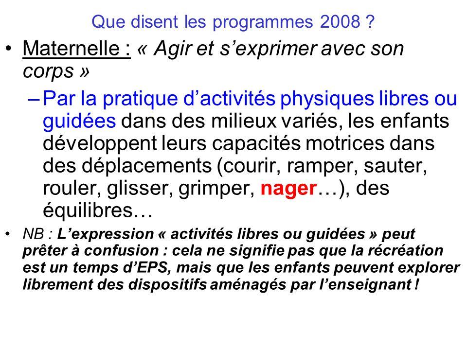 Que disent les programmes 2008 ? Maternelle : « Agir et sexprimer avec son corps » –Par la pratique dactivités physiques libres ou guidées dans des mi