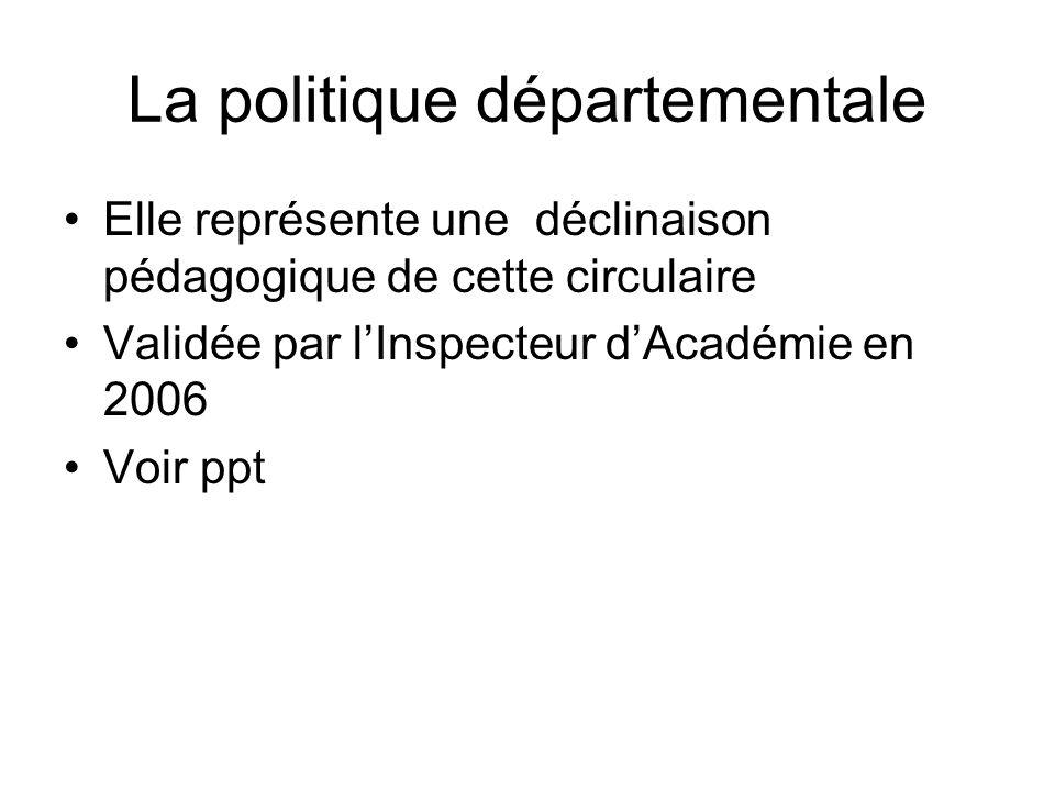 La politique départementale Elle représente une déclinaison pédagogique de cette circulaire Validée par lInspecteur dAcadémie en 2006 Voir ppt
