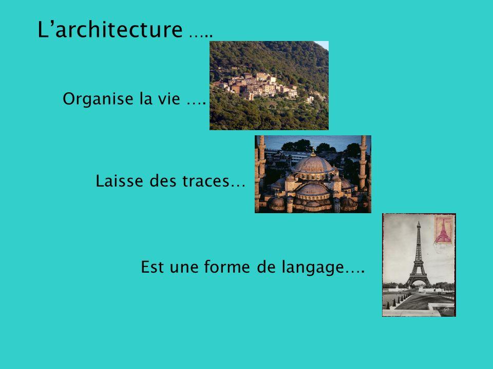 Larchitecture ….. Organise la vie …. Laisse des traces… Est une forme de langage….