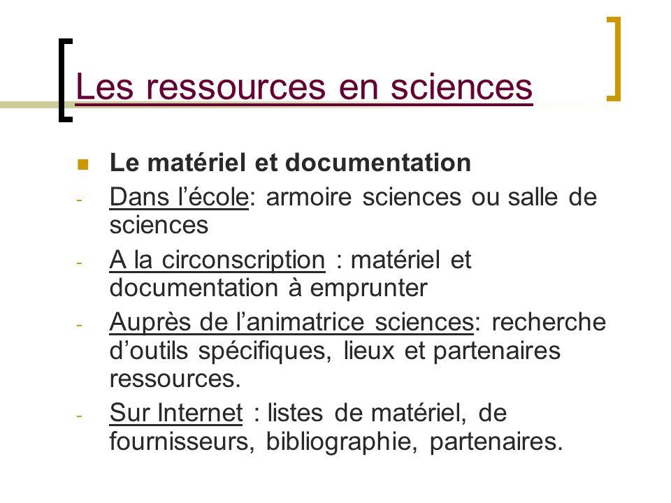 Les ressources en sciences Le matériel et documentation - Dans lécole: armoire sciences ou salle de sciences - A la circonscription : matériel et docu