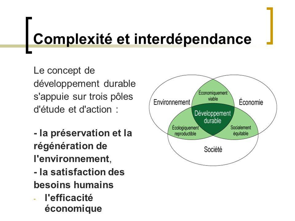 Complexité et interdépendance Le concept de développement durable s'appuie sur trois pôles d'étude et d'action : - la préservation et la régénération