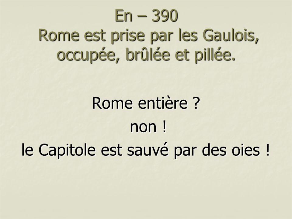En – 390 Rome est prise par les Gaulois, occupée, brûlée et pillée. Rome entière ? non ! non ! le Capitole est sauvé par des oies !