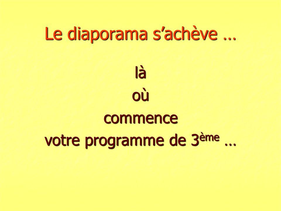 Le diaporama sachève … làoùcommence votre programme de 3 ème …