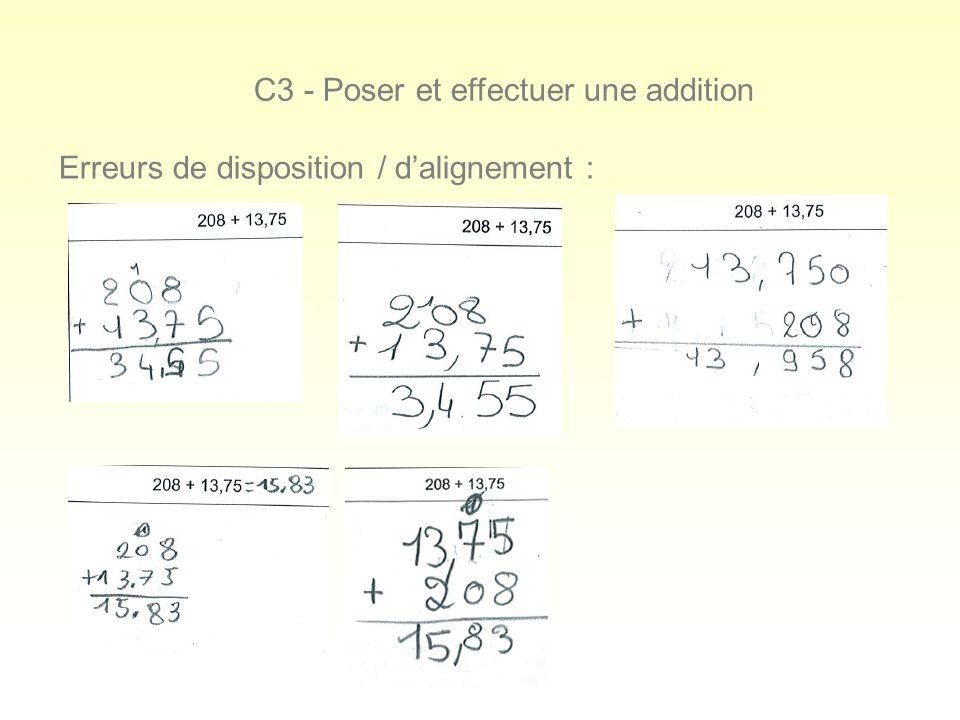 C3 - Poser et effectuer une addition Erreurs de disposition / dalignement :