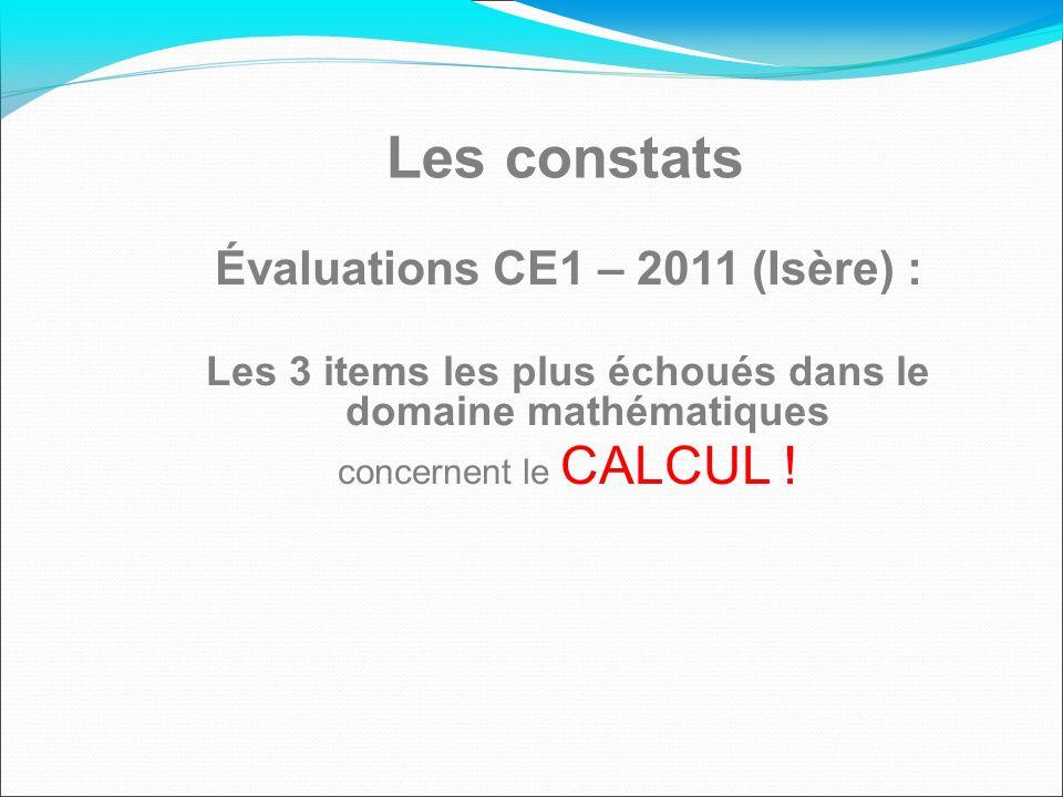 Les constats Évaluations CE1 – 2011 (Isère) : Les 3 items les plus échoués dans le domaine mathématiques concernent le CALCUL !