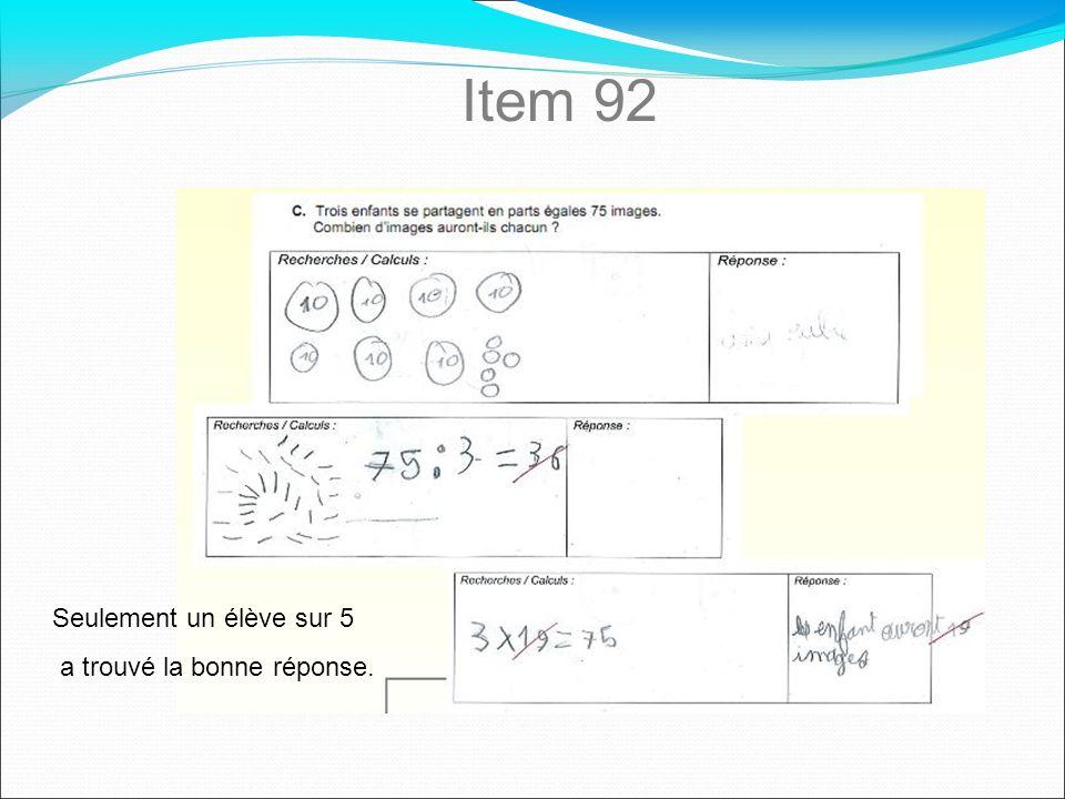 Item 92 Seulement un élève sur 5 a trouvé la bonne réponse.