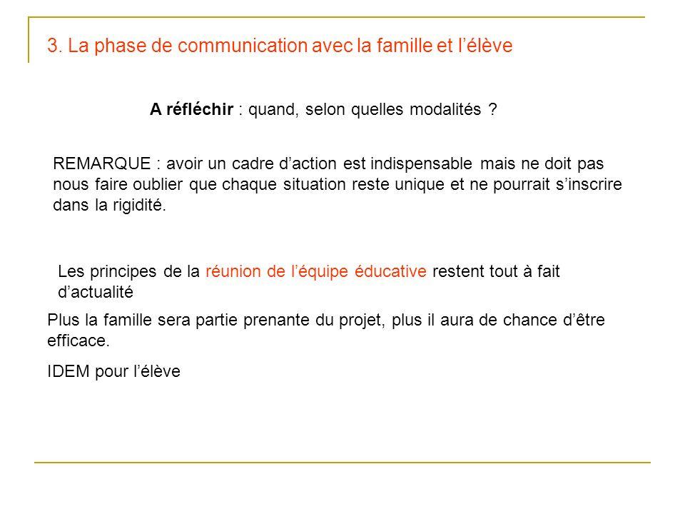 3. La phase de communication avec la famille et lélève A réfléchir : quand, selon quelles modalités ? REMARQUE : avoir un cadre daction est indispensa