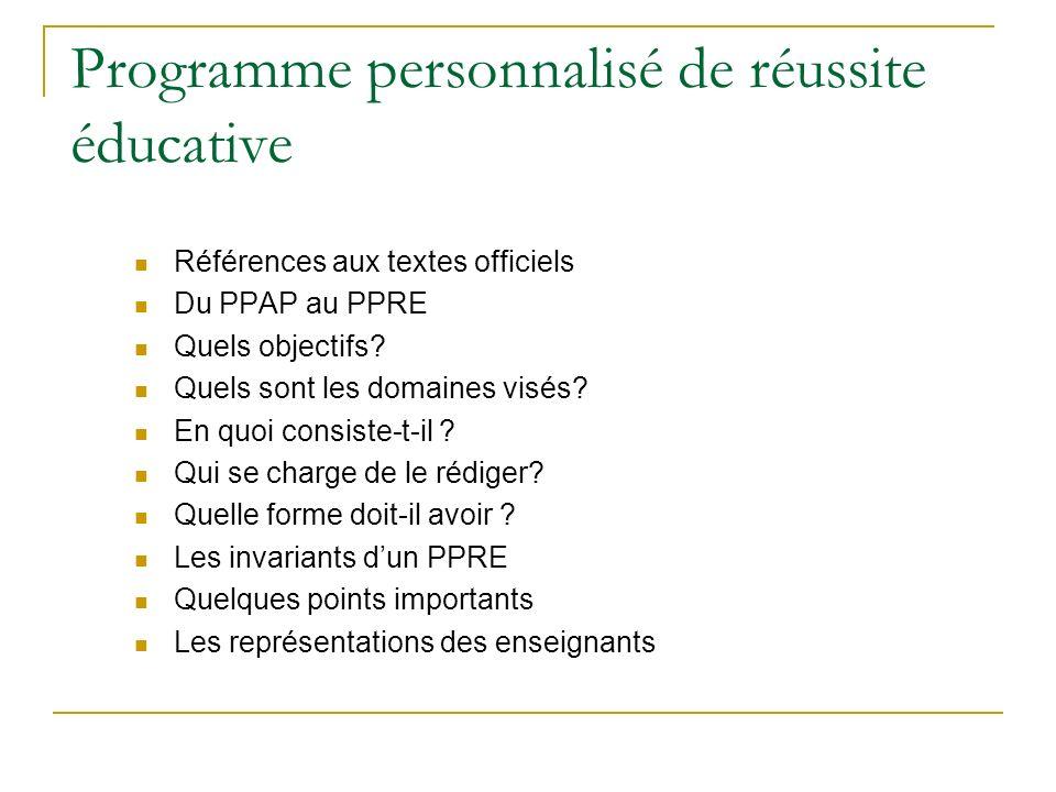Programme personnalisé de réussite éducative Références aux textes officiels Du PPAP au PPRE Quels objectifs? Quels sont les domaines visés? En quoi c