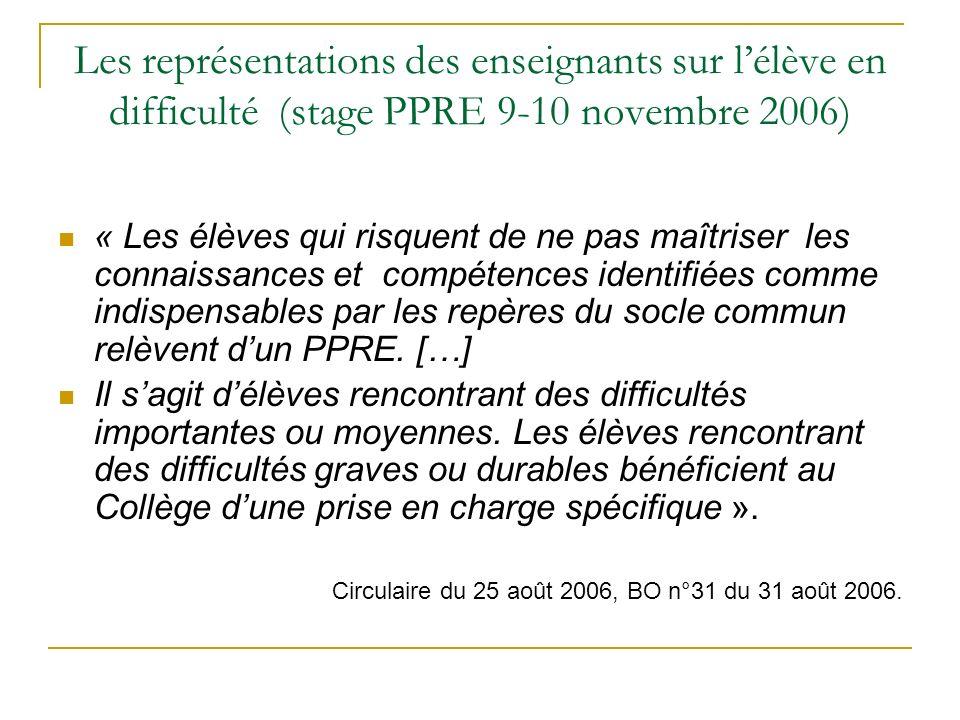 Les représentations des enseignants sur lélève en difficulté (stage PPRE 9-10 novembre 2006) « Les élèves qui risquent de ne pas maîtriser les connais