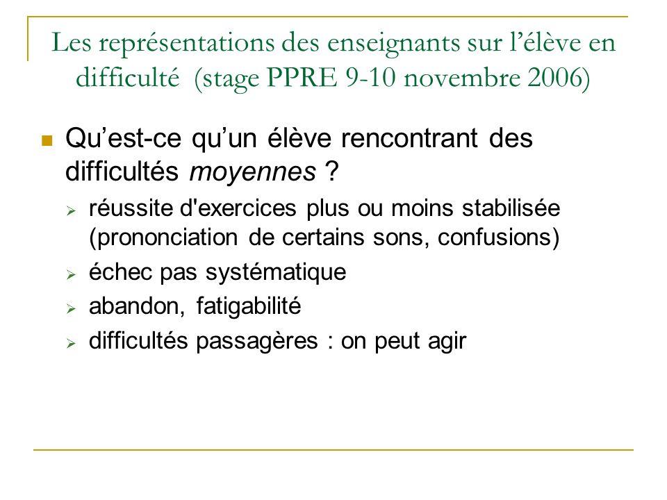 Les représentations des enseignants sur lélève en difficulté (stage PPRE 9-10 novembre 2006) Quest-ce quun élève rencontrant des difficultés moyennes