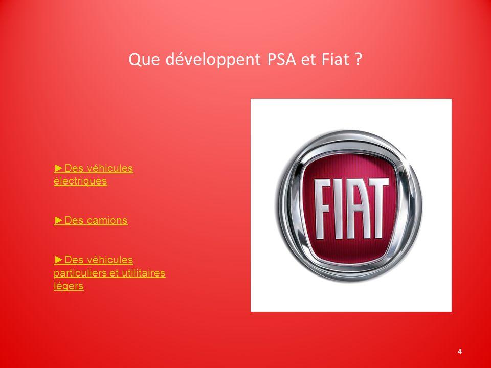4 Que développent PSA et Fiat ? Des véhicules électriques Des camions Des véhicules particuliers et utilitaires légers
