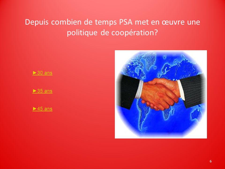 6 Depuis combien de temps PSA met en œuvre une politique de coopération? 30 ans 35 ans 45 ans