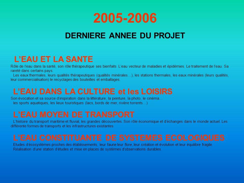 2005-2006 DERNIERE ANNEE DU PROJET LEAU ET LA SANTE Rôle de leau dans la santé, son rôle thérapeutique ses bienfaits Leau vecteur de maladies et épidémies.