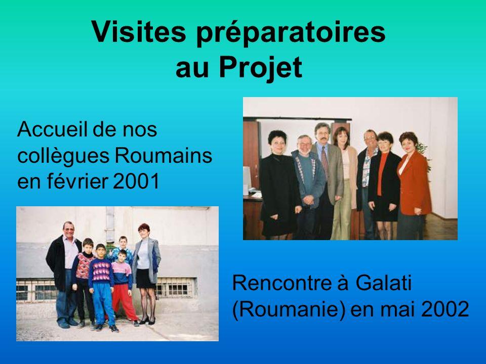 Visites préparatoires au Projet Rencontre à Galati (Roumanie) en mai 2002 Accueil de nos collègues Roumains en février 2001