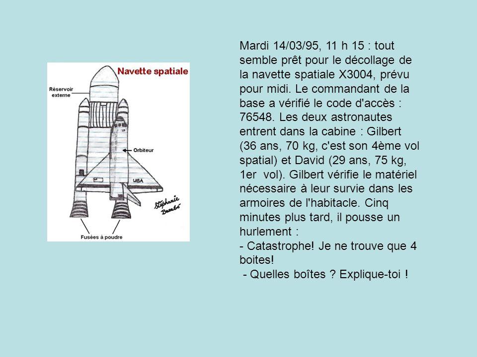 Mardi 14/03/95, 11 h 15 : tout semble prêt pour le décollage de la navette spatiale X3004, prévu pour midi.