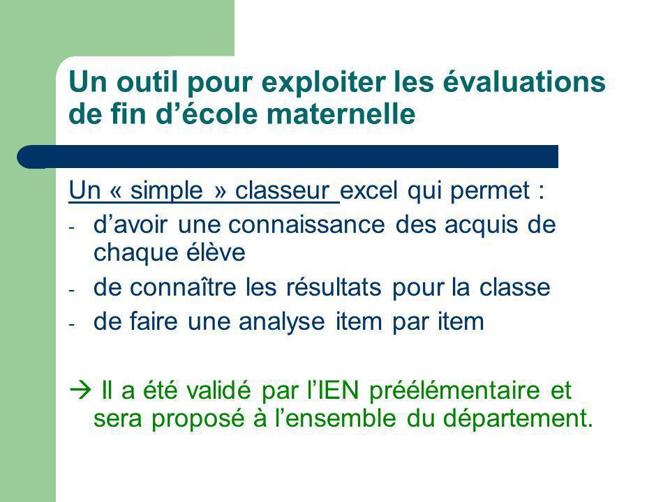 Un outil pour exploiter les évaluations de fin décole maternelle Un « simple » classeur Un « simple » classeur excel qui permet : - davoir une connais