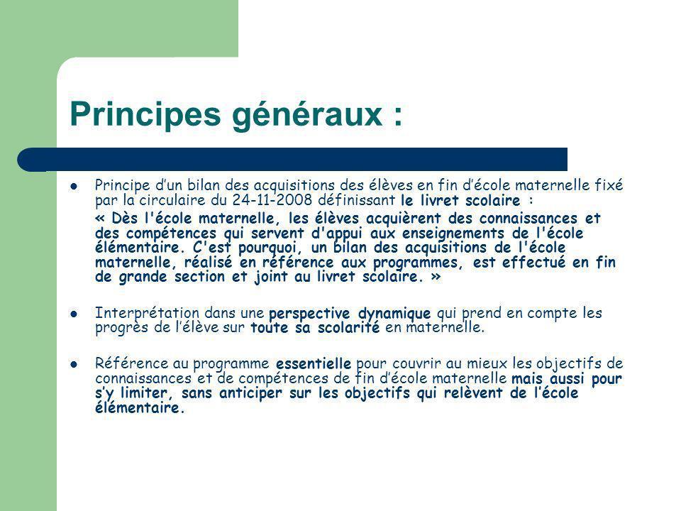 Principes généraux : Principe dun bilan des acquisitions des élèves en fin décole maternelle fixé par la circulaire du 24-11-2008 définissant le livre